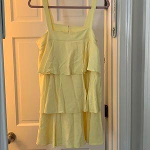 Yellow ruffled mini dress